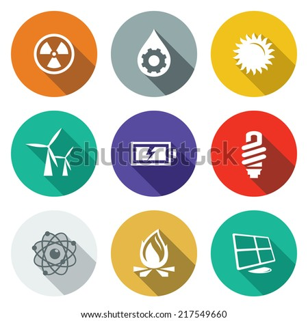 Energy flat icons set