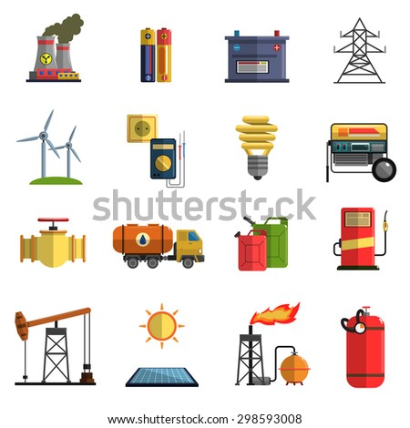 Energy generating and storing systems with high power sustainable batteries flat icons set abstract isolated vector illustration - stock vector
