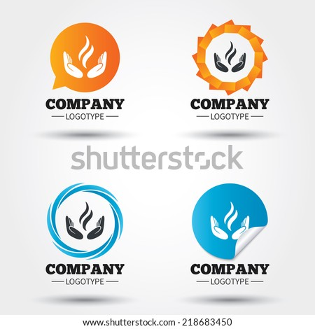 Energy hands sign icon. Power from hands symbol. Business abstract circle logos. Icon in speech bubble, wreath. Vector - stock vector