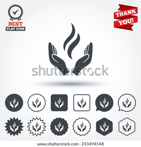 Energy hands sign icon. Power from hands symbol. Circle, star, speech bubble and square buttons. Award medal with check mark. Thank you ribbon. Vector - stock vector