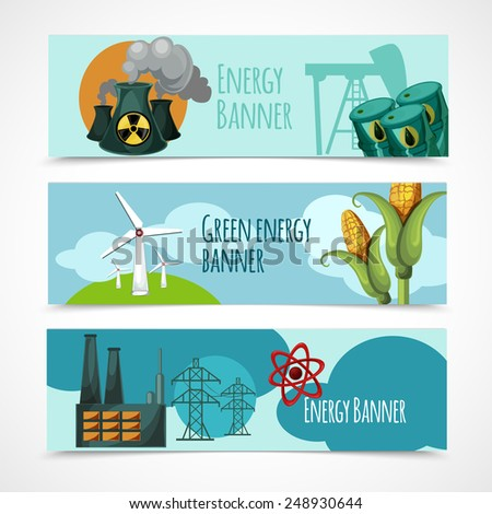Energy horizontal banner set with oil nuclear green wind electricity power station elements isolated vector illustration - stock vector