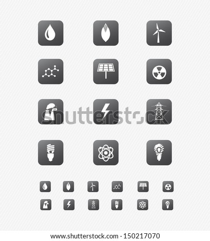 Energy Icon on black Button Collection 1 - stock vector