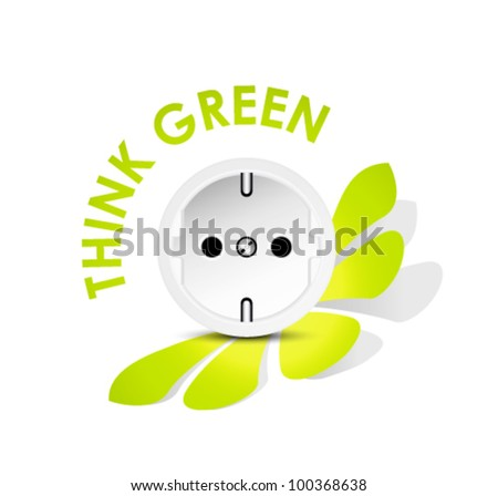 Energy icon outlet - energy efficiency - think green - stock vector