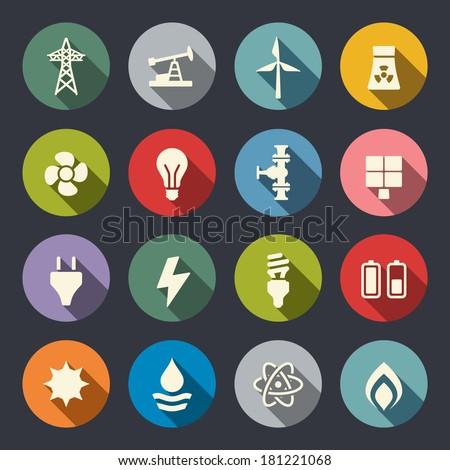 Energy icon set - stock vector