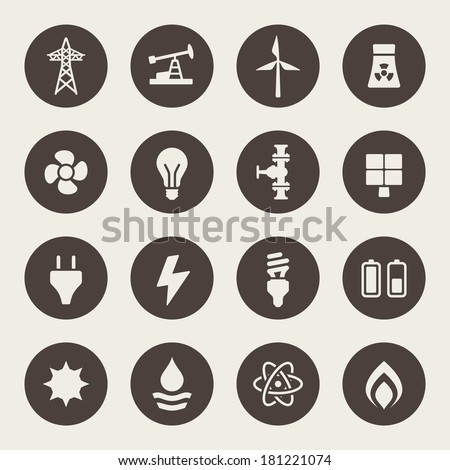 Energy icon set - stock vector