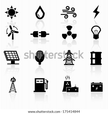 energy icons - stock vector