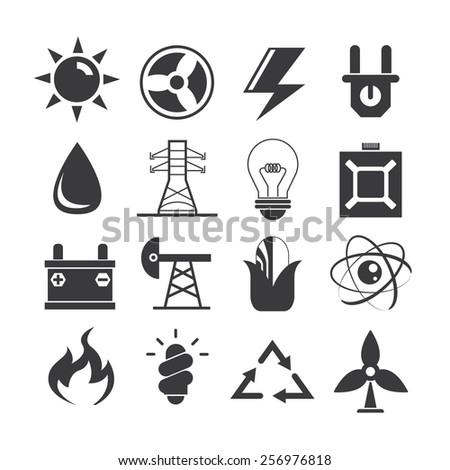 energy icons - stock vector