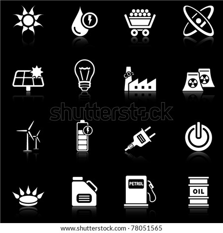 Energy icons - black series - stock vector