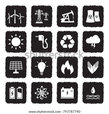 Energy Icons. Grunge Black Flat Design. Vector Illustration.