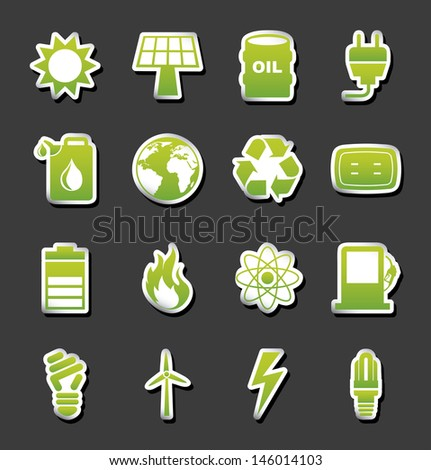 energy icons over black background vector illustration