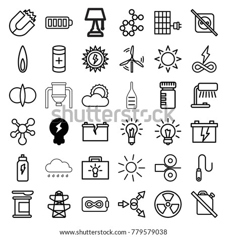 Energy icons. set of 36 editable outline energy icons such as bulb, sun, battery, pylon, table lamp, magnet, bottle for fitness, protein powder, atom fusion, atom move, atom