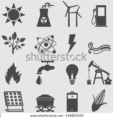 Energy icons  set.Vector - stock vector