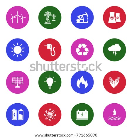 Energy Icons. White Flat Design In Circle. Vector Illustration.
