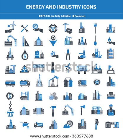 Energy,Industry,construction and engineer icon set,blue version,clean vector