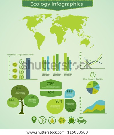 Energy info graphics design elements - stock vector
