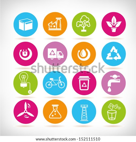 energy management icons set,  round button set - stock vector