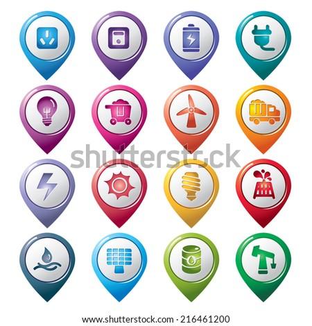 Energy Pointer Icons - stock vector