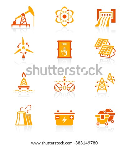 Energy, power and electricity red-orange icon-set - stock vector