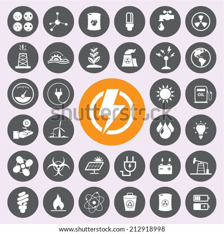 Energy,power and environment icon set.Vector/EPS10 - stock vector