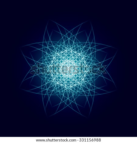 Energy power bright burst star space explosion pattern geometrical abstract light background blue. Vector illustration - stock vector