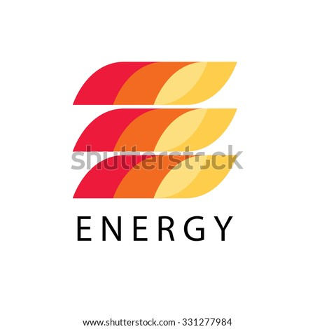 Energy power vector logo template in fire style. Petrol, fuel, diesel, gasoline, benzine, gas, fuel tank, oil industry business card ribbon concept. Letter e print icon idea in red, yellow background. - stock vector