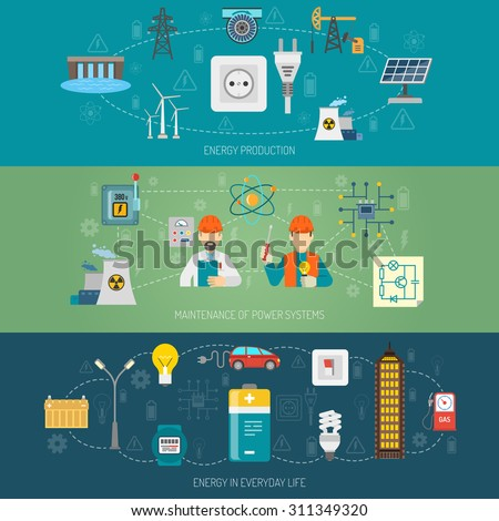 Energy production transmission and maintenance of domestic power systems horizontal flat banners set abstract vector isolated illustration - stock vector