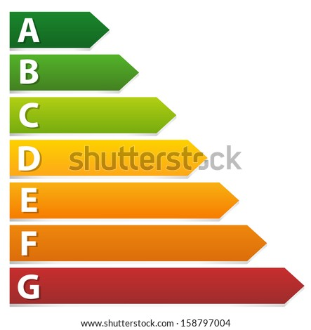 Energy rating labels (3d and stylized) - stock vector