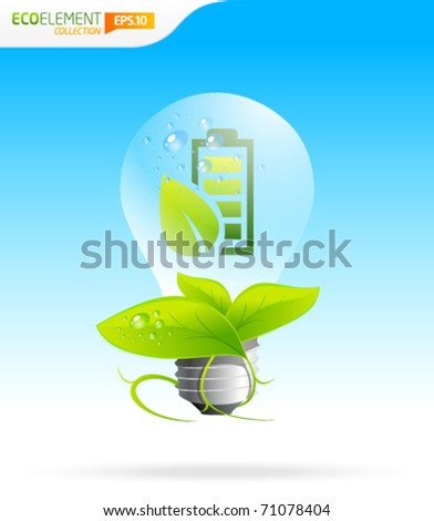 Energy saver green eco icon lightbulb template - stock vector