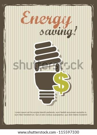 energy saving announcement, vintage style. vector illustration - stock vector