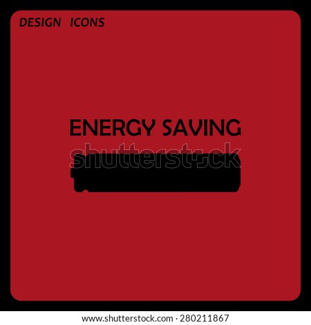 energy saving battery. icon. vector design. Flat design style