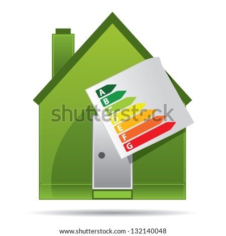 Energy saving certificate concept, green building concept, vector illustration