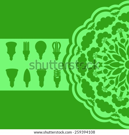 Energy saving ecological lamps 3 green. Abstract background