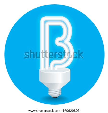 Energy saving idea vector. Create light bulb letter B isolate on blue background.