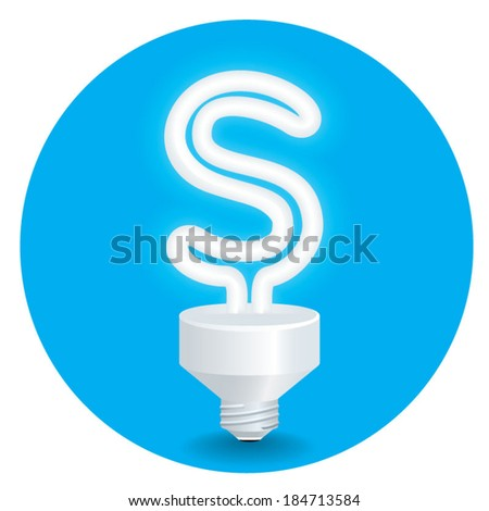 Energy saving idea vector. Create light bulb letter S isolate on blue background.