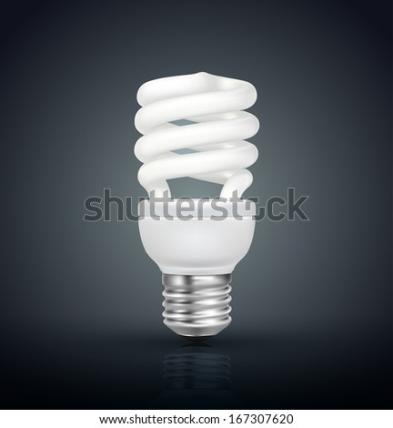 Energy saving lamp isolated on black background - stock vector