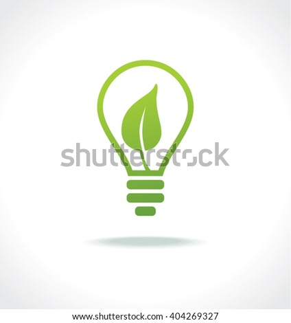Energy saving light bulb. Eco icon. Flat design.
