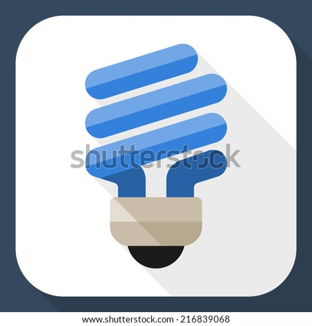 Energy saving light bulb flat icon with long shadow - stock vector