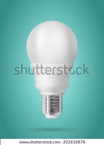 Energy saving light bulb on blue background - stock vector