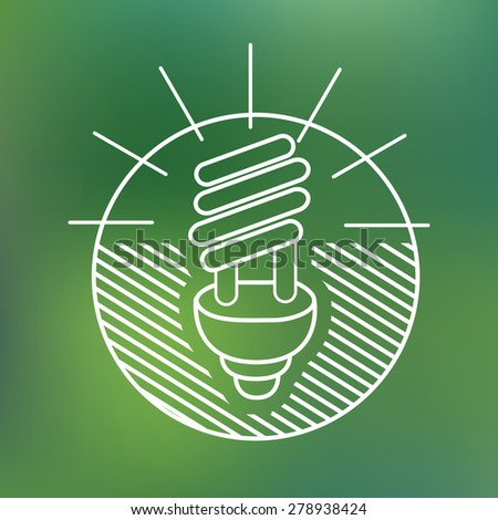 energy saving spiral eco lamp fluorescent light bulb linear icon environmentally friendly planet Ecology Concept - stock vector