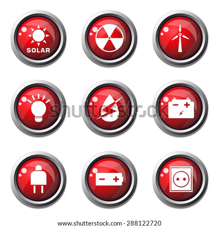 Energy Sign And Symbol Red Vector Button Icon