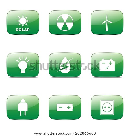 Energy Sign And Symbol Square Vector Green Icon