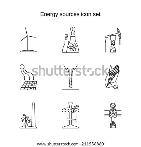 Energy sources contour icon set - stock vector