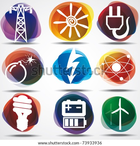 Energy Symbols Set. - stock vector