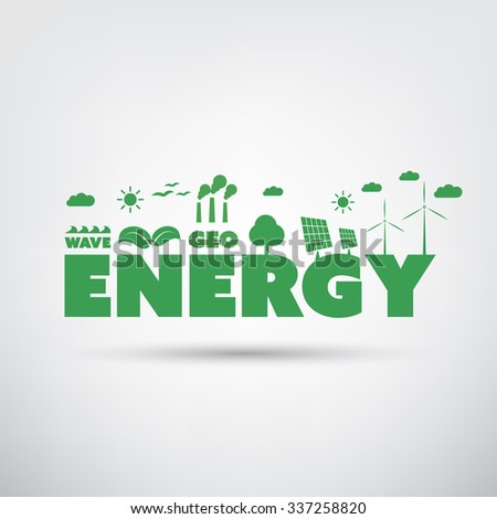Energy Text With Green Energy Icons - stock vector