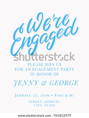 Engagement party invitation template stock vector 2018 765852079 engagement party invitation template stopboris Gallery