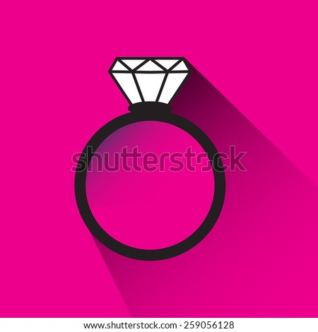 Engagement ring on pink background  - stock vector