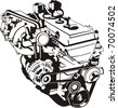 engine of internal combustion frontal silhouette - stock vector