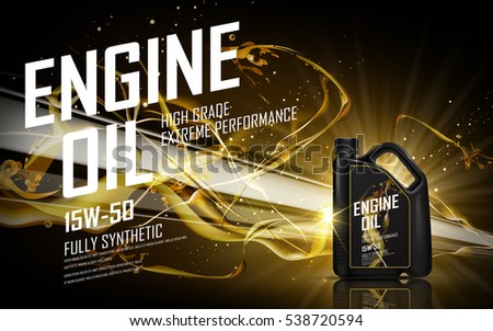 engine oil with golden beam background, 3d illustration
