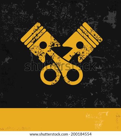 Engine symbol,grunge vector - stock vector