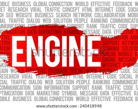 Engine word cloud ,vector business concept background